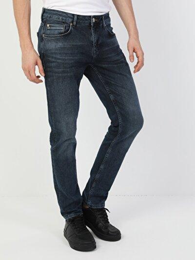 44 Karl Normal Kesim Düşük Bel Düz Paça Erkek Mavi Jean Pantolon