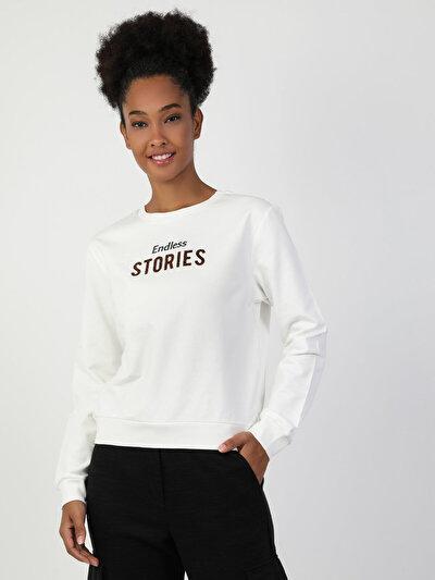 Regular Fit Kadın Baskılı Beyaz Sweatshirt