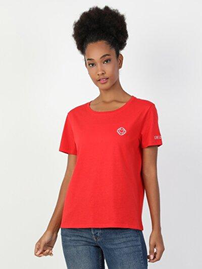 Regular Fit Kadın Kırmızı Kısa Kol Tişört