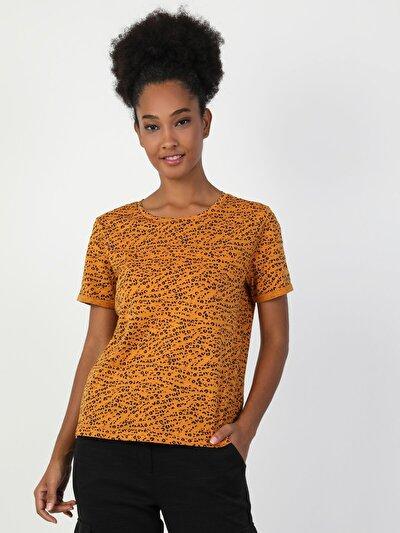 Regular Fit Kadın Baskılı Sarı Kısa Kol Tişört