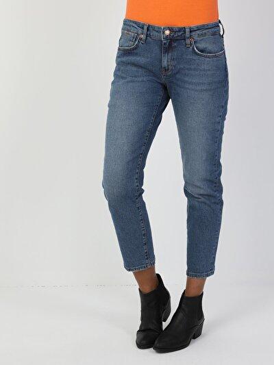 892 Alina Dar Boyfriend Kesim Normal Bel Daralan Paça Kadın Mavi Jean Pantolon