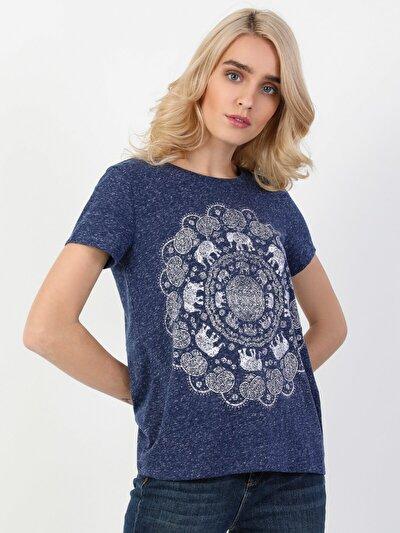 Regular Fit Kadın Baskılı Mavi Kısa Kol Tişört