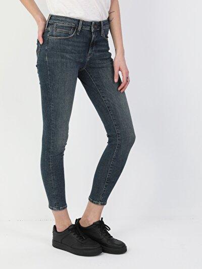 759 Lara Süper Dar Kesim Normal Bel Süper Dar Paça Mavi Kadın Pantolon