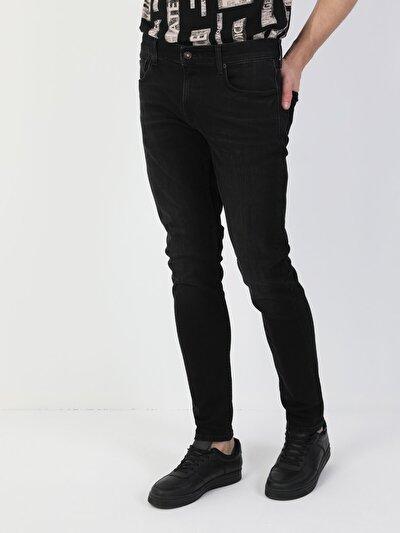 41 Danny Dar Kesim Düşük Bel Dar Paça Erkek Siyah Jean Pantolon