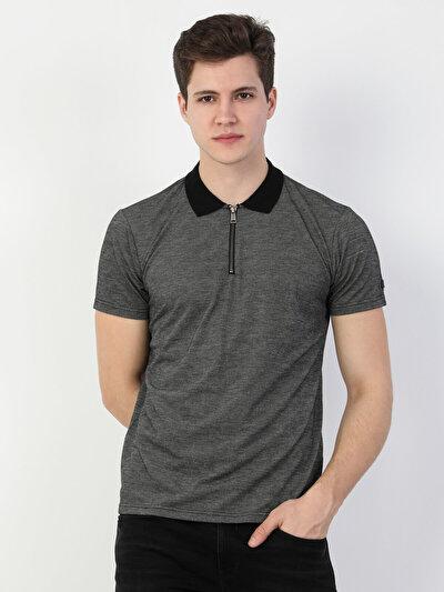 Regular Fit Polo Yaka Erkek Gri Kısa Kol Tişört