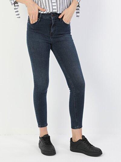 760 Diana Süper Dar Kesim Yüksek Bel Süper Dar Paça Kadın Lacivert Jean Pantolon