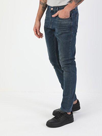 41 Danny Dar Kesim Düşük Bel Dar Paça Erkek Mavi Jean Pantolon