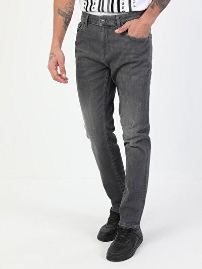 44 Karl Normal Kesim Düşük Bel Düz Paça Erkek Gri Jean Pantolon
