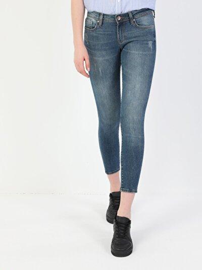 757 Sally Süper Dar Kesim Süper Düşük Bel Süper Dar Paça Kadın Mavi Jean Pantolon