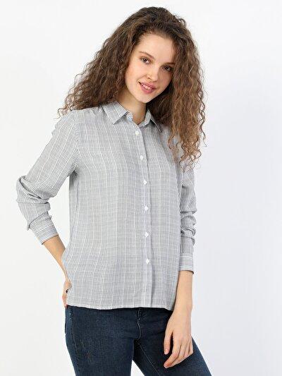 Regular Fit Kadın Gri Uzun Kol Gömlek