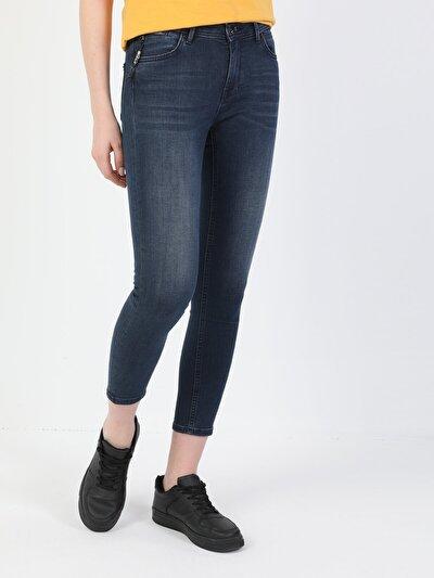 759 Lara Süper Dar Kesim Normal Bel Süper Dar Paça Koyu Mavi Kadın Pantolon