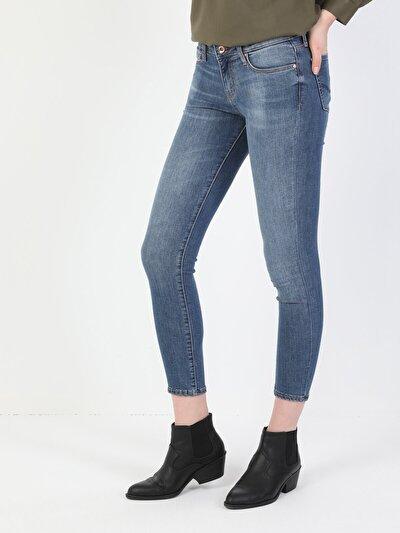 757 Sally Süper Dar Kesim Düşük Bel Süper Dar Paça Açık Mavi Kadın Pantolon