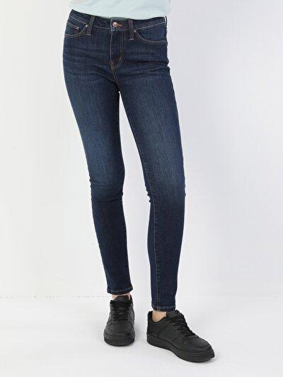 Süper Dar Kesim Normal Bel Süper Dar Paça Koyu Kadın Mavi Pantolon