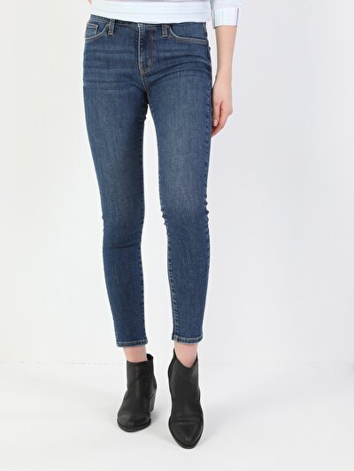 Süper Dar Kesim Normal Bel Süper Dar Paça Kadın Mavi Pantolon