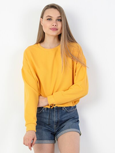 Regular Fit Kadın Sarı Tuzun Kol Tişört