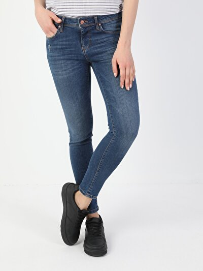 757 Sally Süper Dar Kesim Düşük Bel Süper Dar Paça Mavi Kadın Pantolon