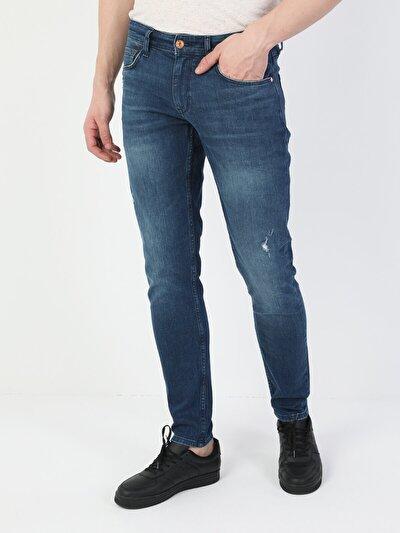 041 Danny Dar Kesim Düşük Bel Dar Paça Yırtık Detaylı Mavi Erkek Pantolon