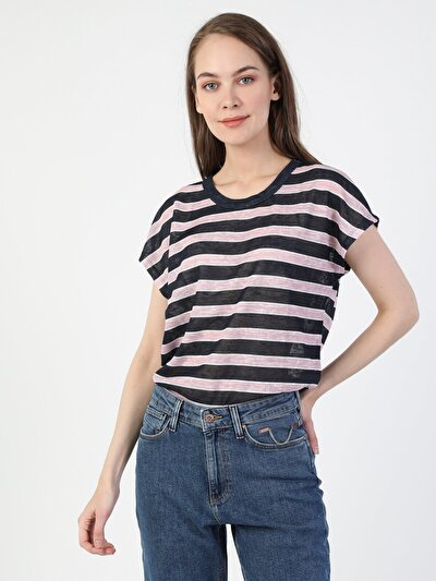 Regular Fit Kadın Çizgili Lacivert Kısa Kol Tişört