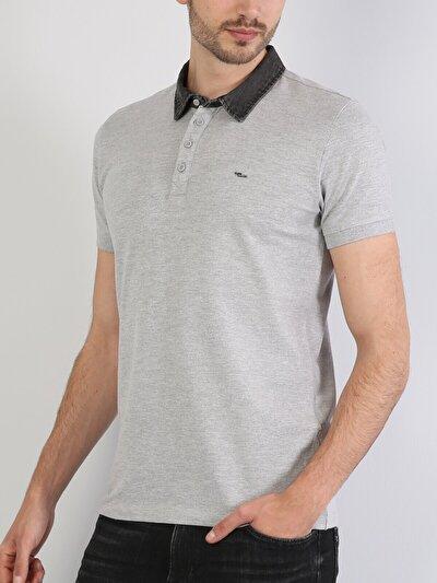 Dar Kesim Polo Yaka Açık Gri Erkek Kısa Kol Tişört