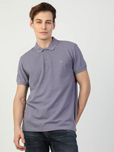 Regular Fit Polo Yaka Erkek Mor Kısa Kol Tişört