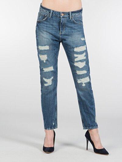 Normal Kesim Orta Bel Dar Paça Mavi Jean Pantolon
