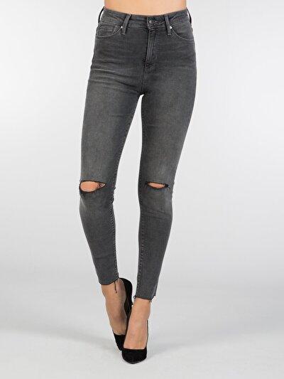 758 Sally Dar Kesim Yüksek Bel Dar Paça Siyah Jean Pantolon