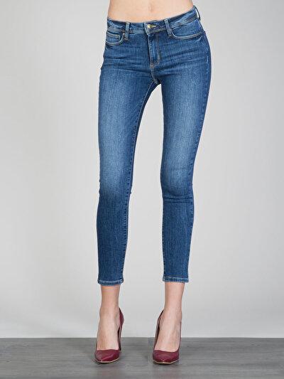 759 Lara Dar Kesim Yüksek Bel Dar Paça Mavi Jean Pantolon