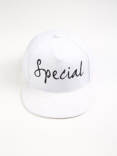Special Yazılı Beyaz Kadın Şapka