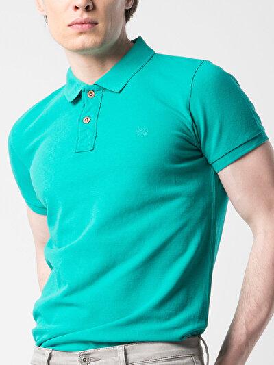Dar Kesim Polo Yaka Yeşil Kısa Kol Tişört