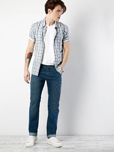 045 David Normal Kesim Orta Bel Geniş Paça Koyu Mavi Jean Pantolon