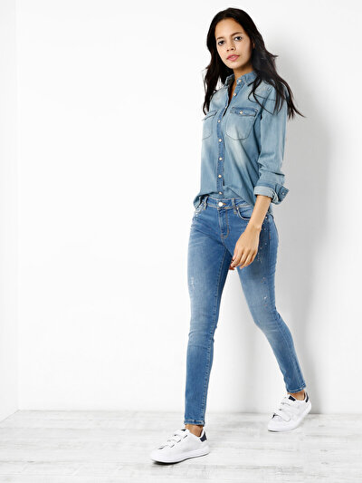 759 Lara Dar Kesim Orta Bel Dar Paça Mavi Jean Pantolon