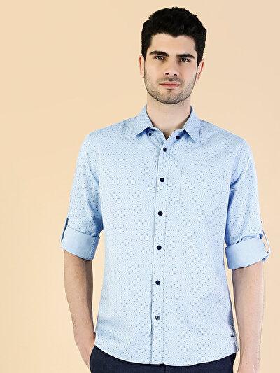 Kol Katlamalı  Açık Mavi Uzun Kol Gömlek
