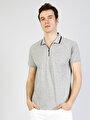 Polo Yaka Gri Melanj Erkek Kısa Kol Tişört