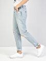 893 Julia Normal Kesim Orta Bel Tapered Leg Mavi Jean Pantolon