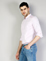 Modern Fit Shirt Neck Erkek Mor Uzun Kol Gömlek