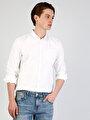 Kol Katlamalı Klasik Yaka Beyaz Uzun Kol Gömlek