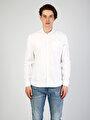 Modern Fit Shirt Neck Erkek Beyaz Uzun Kol Gömlek