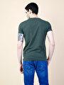 Slim Fit V Yaka Erkek Haki Kısa Kol Tişört