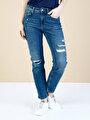 891 Maya Slim Fit Orta Bel Rahat Kesim Paça  Kadın İndigo Jean Pantolon