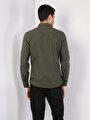 Kol Katlamalı Klasik Yaka Haki Uzun Kol Gömlek