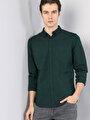 Klasik Yaka Koyu Yeşil Uzun Kol Gömlek