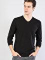 Siyah V Yaka Uzun Kol Tişört