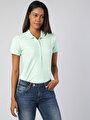 Slim Fit Polo Yaka Mint Yeşili Kadın Kısa Kol Tişört