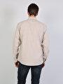 Regular Fit Shirt Neck Erkek Bej Uzun Kol Gömlek