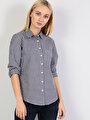 Super Slim Fit Kadın Lacivert Uzun Kol Gömlek