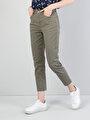 Dar Kesim Yüksek Bel Boru Paça Yeşil Kadın Pantolon