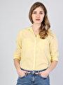 Regular Fit Shirt Neck Kadın Sarı Uzun Kol Gömlek