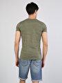 Yuvarlak Yaka Kısa Kol Haki Erkek Tişört
