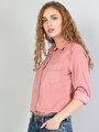 Slim Fit Shirt Neck Kadın Pembe Uzun Kol Gömlek