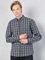 Slim Fit Shirt Neck Erkek Gri Uzun Kol Gömlek